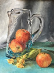 Apples in Water Pitcher. 12x9. Oil on linen panel.
