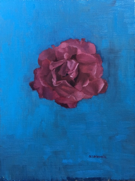 Pink Rose on Blue. 12x19. Oil on Linen Panel.