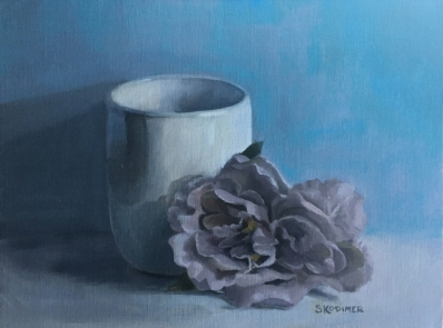 White Vase with Purple Flower. 9x12. Oil on Linen Panel.
